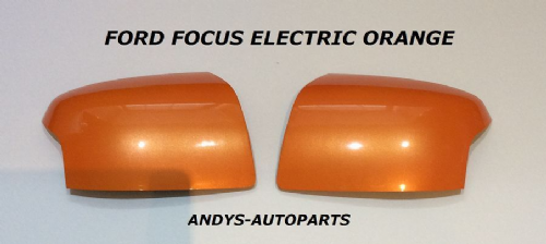 FORD FOCUS 05-08 PAIR OF WING MIRROR COVERS LH & RH SIDE IN ELECTRIC ORANGE